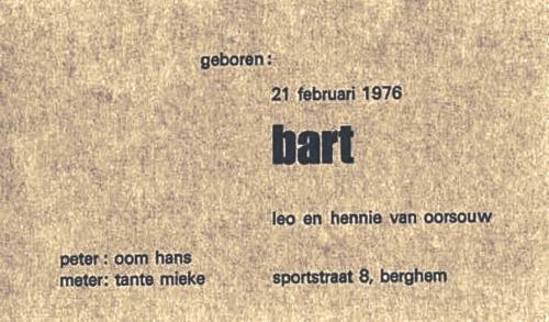 Geboortekaart Bart van Oorsouw 1976