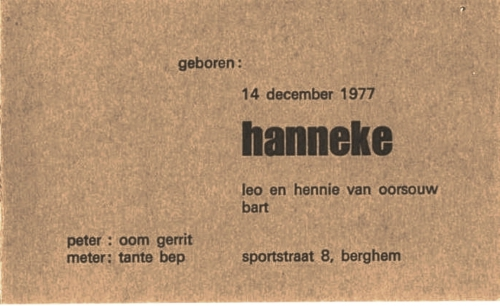 Geboortekaart Hanneke van Oorsouw 1977