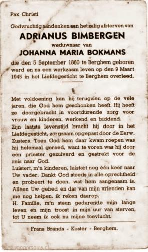 Gedachtenisprentje Adrianus Bimbergen 1860-1945