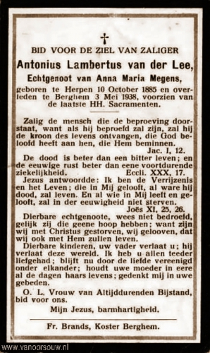 Gedachtenisprentje Antonius van der Lee 1885-1938