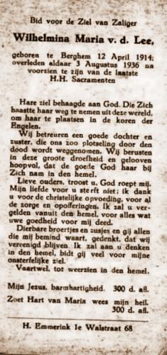 Gedachtenisprentje W. van der Lee