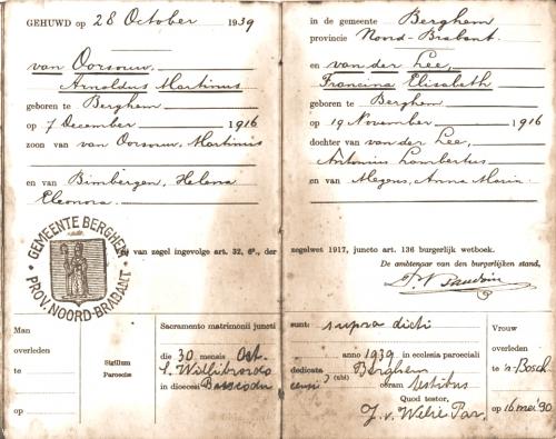 Trouwboekje A. van Oorsouw-S. van der Lee