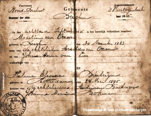 Trouwboekje M. van Oorsouw-H. Bimbergen